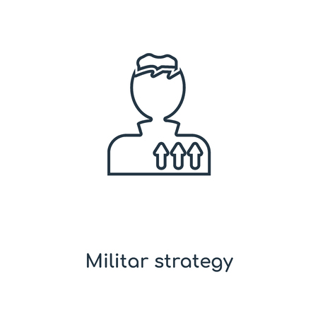 Militar strategy concept line icon. Linear Militar strategy concept outline symbol design. This simple element illustration can be used for web and mobile UI/UX. Иллюстрация