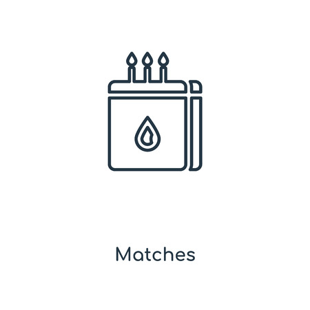 Matches concept line icon. Linear Matches concept outline symbol design. This simple element illustration can be used for web and mobile UI/UX.