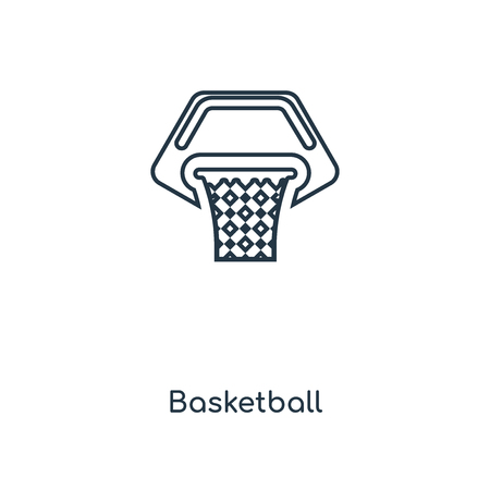Basketball concept line icon. Linear Basketball concept outline symbol design. This simple element illustration can be used for web and mobile UI/UX.