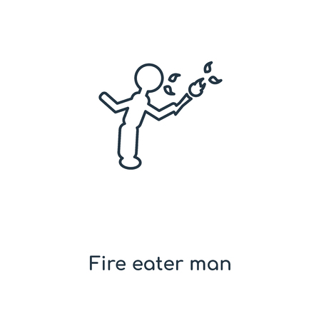 Fire eater man concept line icon. Linear Fire eater man concept outline symbol design. This simple element illustration can be used for web and mobile UIUX.