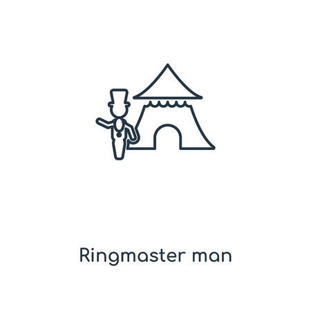 Ringmaster man concept line icon. Linear Ringmaster man concept outline symbol design. This simple element illustration can be used for web and mobile UIUX. Ilustração