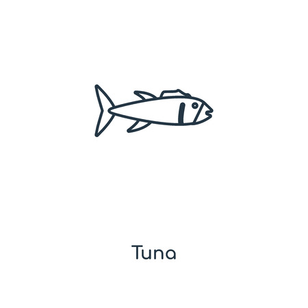 Tuna concept line icon. Linear Tuna concept outline symbol design. This simple element illustration can be used for web and mobile UI/UX. 矢量图像