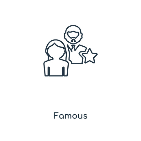 Famous concept line icon. Linear Famous concept outline symbol design. This simple element illustration can be used for web and mobile UIUX.