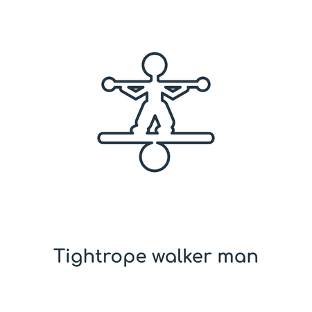 Tightrope walker man concept line icon. Linear Tightrope walker man concept outline symbol design. This simple element illustration can be used for web and mobile UI/UX.