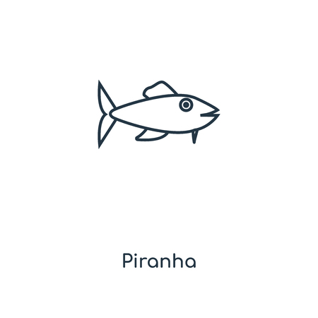 Piranha concept line icon. Linear Piranha concept outline symbol design. This simple element illustration can be used for web and mobile UI/UX.