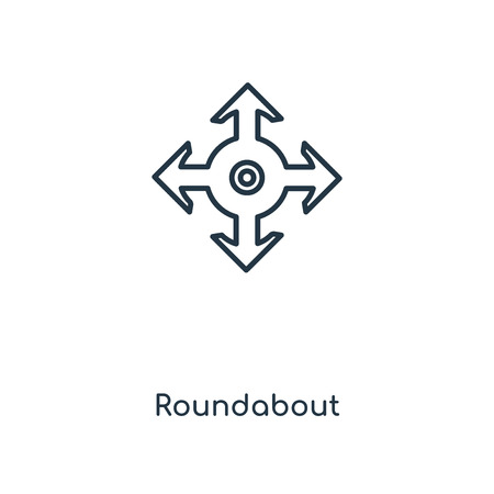 Roundabout concept line icon. Linear Roundabout concept outline symbol design. This simple element illustration can be used for web and mobile UI/UX. Vectores