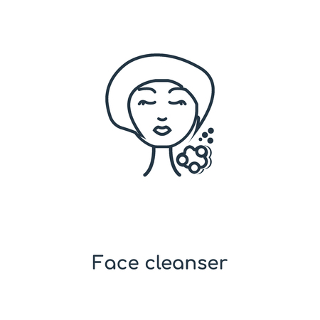 Face cleanser concept line icon. Linear Face cleanser concept outline symbol design. This simple element illustration can be used for web and mobile UI/UX.