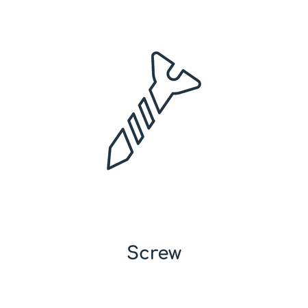Screw concept line icon. Linear Screw concept outline symbol design. This simple element illustration can be used for web and mobile UI/UX. 矢量图像