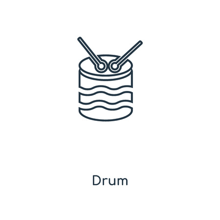 Drum concept line icon. Linear Drum concept outline symbol design. This simple element illustration can be used for web and mobile UI/UX.