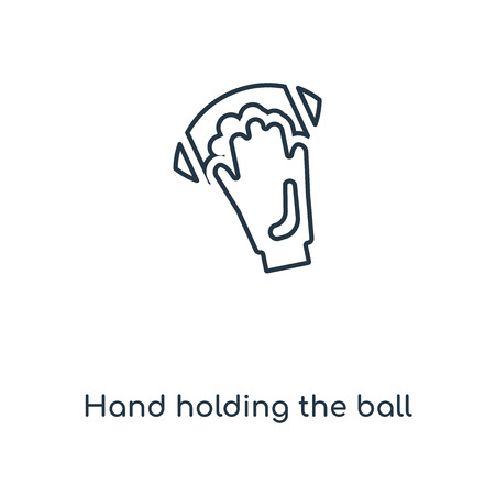 hand holding the ball concept line icon. Linear hand holding the ball concept outline symbol design. This simple element illustration can be used for web and mobile UI/UX.