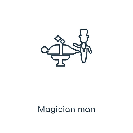 Magician man concept line icon. Linear Magician man concept outline symbol design. This simple element illustration can be used for web and mobile UIUX.
