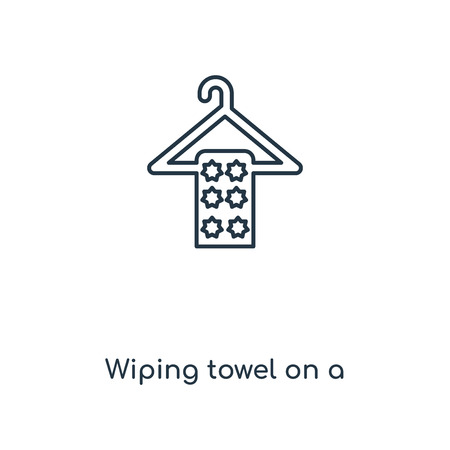 Wiping towel on a hanger concept line icon. Linear Wiping towel on a hanger concept outline symbol design. This simple element illustration can be used for web and mobile UI/UX. Illustration