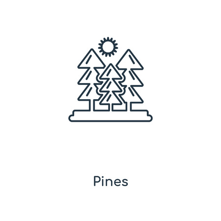 Pines concept line icon. Linear Pines concept outline symbol design. This simple element illustration can be used for web and mobile UIUX. Ilustração