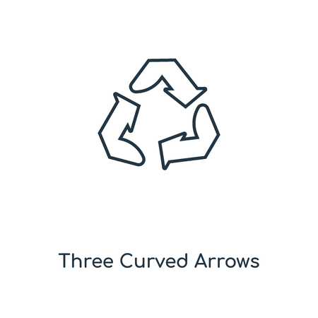 Three Curved Arrows concept line icon. Linear Three Curved Arrows concept outline symbol design. This simple element illustration can be used for web and mobile UI/UX.