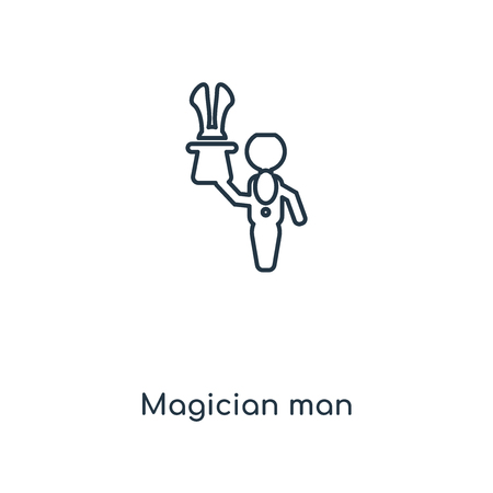 Magician man concept line icon. Linear Magician man concept outline symbol design. This simple element illustration can be used for web and mobile UI/UX.