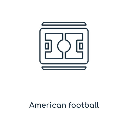 American football field top view concept line icon. Linear American football field top view concept outline symbol design. This simple element illustration can be used for web and mobile UI/UX.