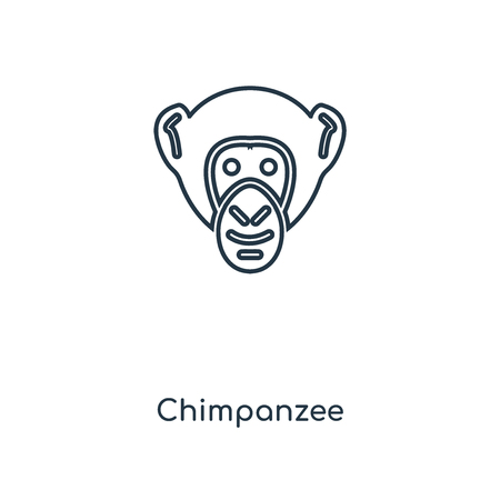 Chimpanzee concept line icon. Linear Chimpanzee concept outline symbol design. This simple element illustration can be used for web and mobile UI/UX.