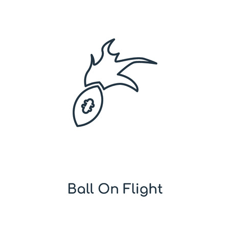 Ball On Flight concept line icon. Linear Ball On Flight concept outline symbol design. This simple element illustration can be used for web and mobile UI/UX. Çizim
