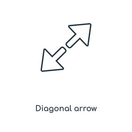 Diagonal arrow concept line icon. Linear Diagonal arrow concept outline symbol design. This simple element illustration can be used for web and mobile UI/UX.