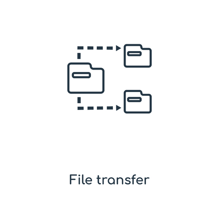 File transfer concept line icon. Linear File transfer concept outline symbol design. This simple element illustration can be used for web and mobile UI/UX.