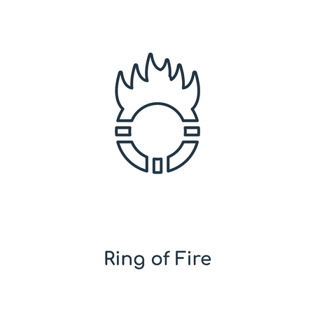 Ring of Fire concept line icon. Linear Ring of Fire concept outline symbol design. This simple element illustration can be used for web and mobile UIUX. Ilustração