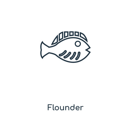 Flounder concept line icon. Linear Flounder concept outline symbol design. This simple element illustration can be used for web and mobile UI/UX.