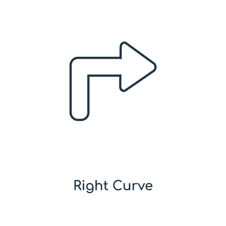 Right Curve concept line icon. Linear Right Curve concept outline symbol design. This simple element illustration can be used for web and mobile UI/UX. 矢量图像