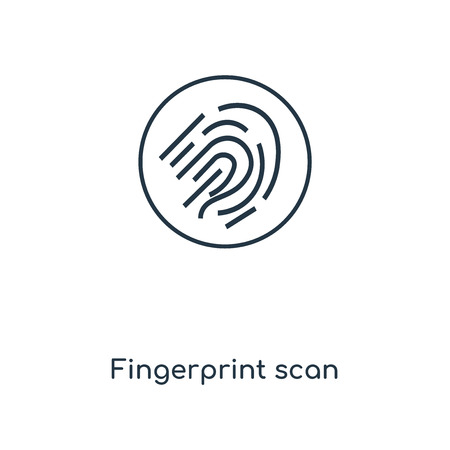 Fingerprint scan concept line icon. Linear Fingerprint scan concept outline symbol design. This simple element illustration can be used for web and mobile UI/UX.