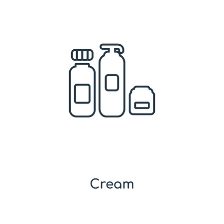 Cream concept line icon. Linear Cream concept outline symbol design. This simple element illustration can be used for web and mobile UI/UX. 向量圖像