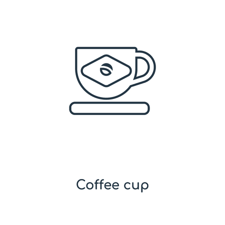 Coffee cup concept line icon. Linear Coffee cup concept outline symbol design. This simple element illustration can be used for web and mobile UI/UX.
