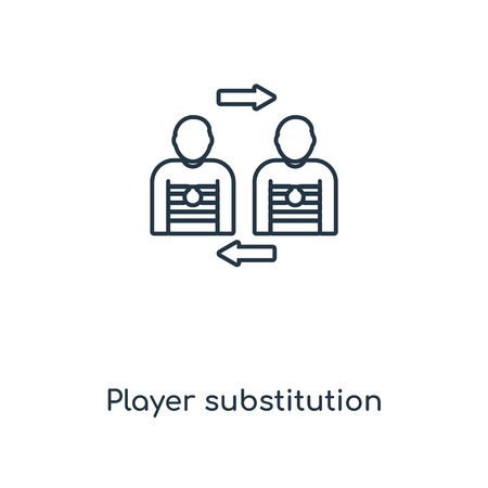 Player substitution concept line icon. Linear Player substitution concept outline symbol design. This simple element illustration can be used for web and mobile UI/UX.