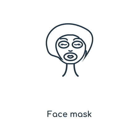 Face mask concept line icon. Linear Face mask concept outline symbol design. This simple element illustration can be used for web and mobile UI/UX.