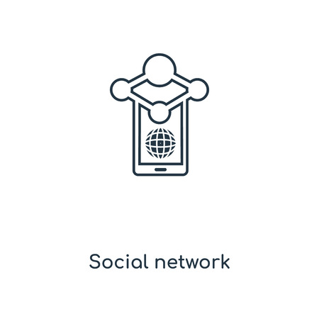 Social network concept line icon. Linear Social network concept outline symbol design. This simple element illustration can be used for web and mobile UIUX.