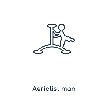 Aerialist man concept line icon. Linear Aerialist man concept outline symbol design. This simple element illustration can be used for web and mobile UIUX.