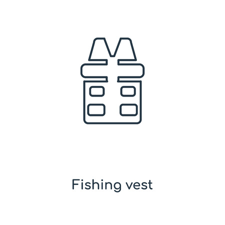 Fishing vest concept line icon. Linear Fishing vest concept outline symbol design. This simple element illustration can be used for web and mobile UI/UX. Vectores