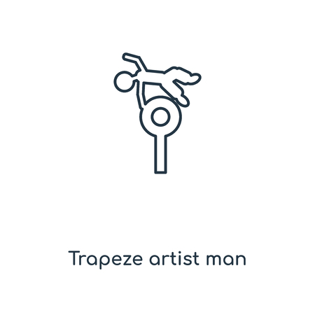Trapeze artist man concept line icon. Linear Trapeze artist man concept outline symbol design. This simple element illustration can be used for web and mobile UIUX.