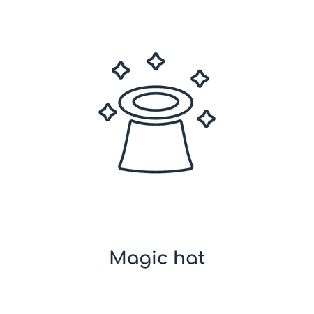 Magic hat concept line icon. Linear Magic hat concept outline symbol design. This simple element illustration can be used for web and mobile UIUX. Ilustração