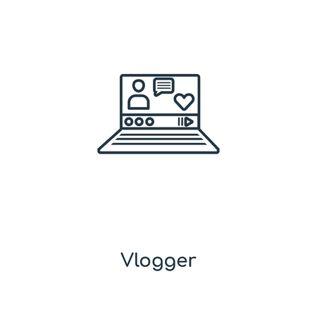 Vlogger concept line icon. Linear Vlogger concept outline symbol design. This simple element illustration can be used for web and mobile UIUX.