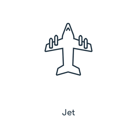 Jet concept line icon. Linear Jet concept outline symbol design. This simple element illustration can be used for web and mobile UIUX. Illustration