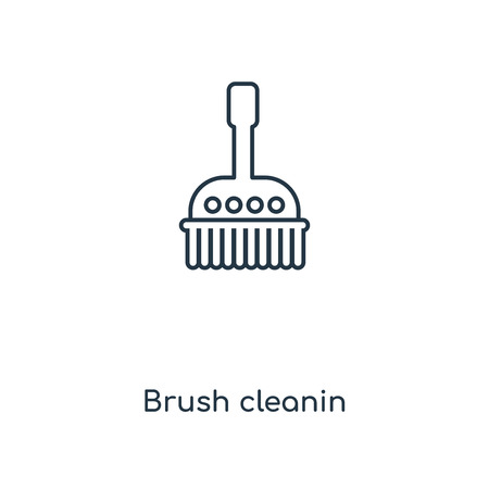 Brush cleanin concept line icon. Linear Brush cleanin concept outline symbol design. This simple element illustration can be used for web and mobile UI/UX.