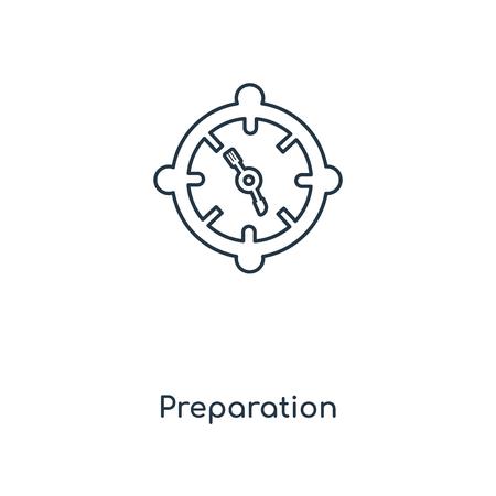 Icona della linea di concetto di preparazione. Disegno di simbolo di contorno del concetto di preparazione lineare. Questa semplice illustrazione dell'elemento può essere utilizzata per UI/UX mobile e web.