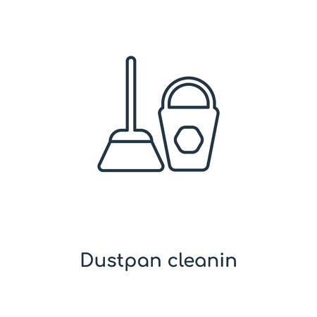 Dustpan cleanin concept line icon. Linear Dustpan cleanin concept outline symbol design. This simple element illustration can be used for web and mobile UIUX.