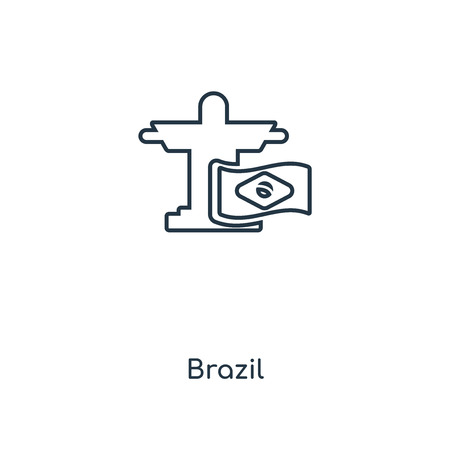 Brazil concept line icon. Linear Brazil concept outline symbol design. This simple element illustration can be used for web and mobile UI/UX.  イラスト・ベクター素材