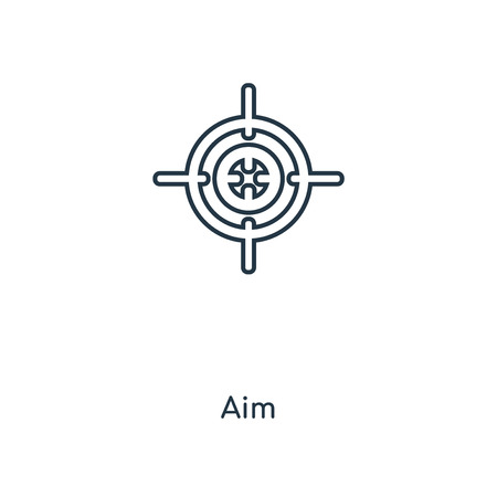 Aim concept line icon. Linear Aim concept outline symbol design. This simple element illustration can be used for web and mobile UI/UX. 向量圖像