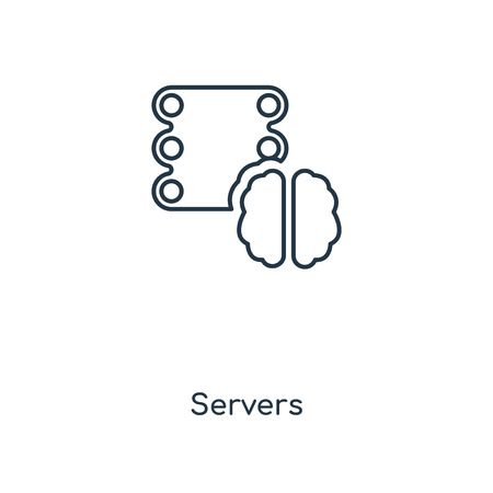 Servers concept line icon. Linear Servers concept outline symbol design. This simple element illustration can be used for web and mobile UI/UX. Vettoriali