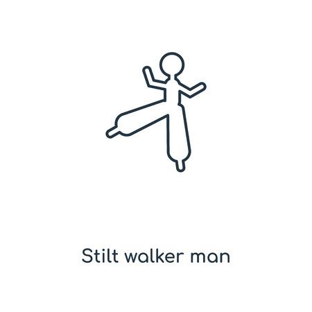 Stilt walker man concept line icon. Linear Stilt walker man concept outline symbol design. This simple element illustration can be used for web and mobile UIUX. Ilustração