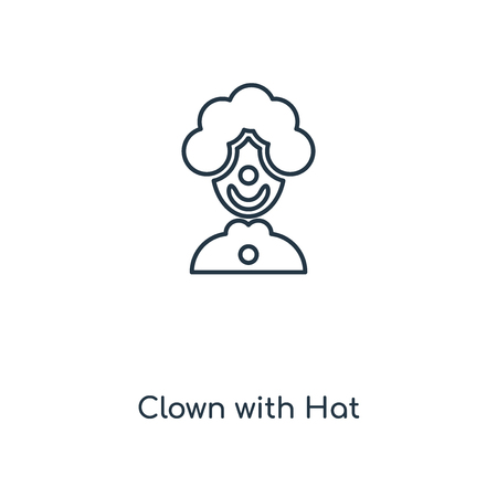 Clown with Hat concept line icon. Linear Clown with Hat concept outline symbol design. This simple element illustration can be used for web and mobile UIUX.