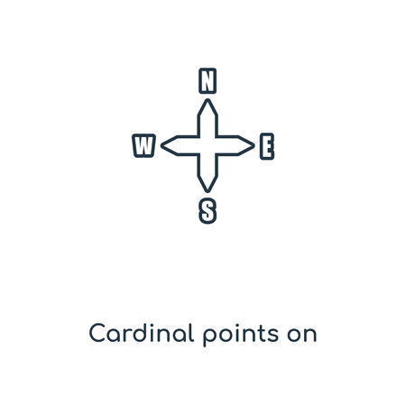 Cardinal points on winds star concept line icon. Linear Cardinal points on winds star concept outline symbol design. This simple element illustration can be used for web and mobile UI/UX. Banque d'images - 113546849