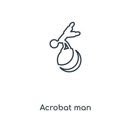 Icono de línea de concepto de hombre acróbata. Diseño lineal del símbolo del esquema del concepto del hombre de Acrobat. Esta ilustración de elemento simple se puede utilizar para UI / UX web y móvil.