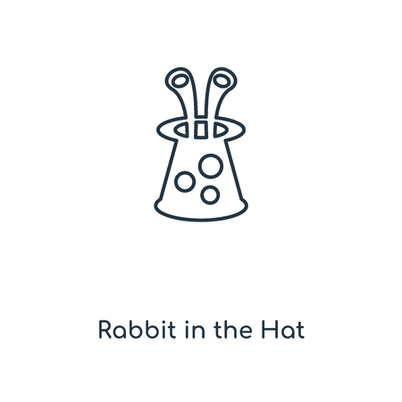 Rabbit in the Hat concept line icon. Linear Rabbit in the Hat concept outline symbol design. This simple element illustration can be used for web and mobile UIUX. Ilustração
